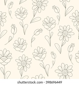 Daisy flowers seamless pattern. Vertical floral chain texture. Brown line on beige background..