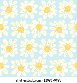 Daisy flowers vector background pattern