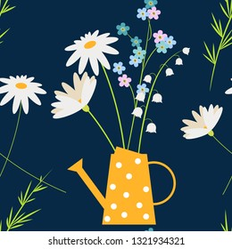 Daisy, forget me not and chamomile spring  flowers in the yellow watering can. Easter or summer country background, seamless pattern with Lily of the valley flowers
