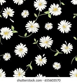 daisy garden print on black - seamless background