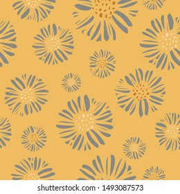 Daisy print floral seamless pattern with a sophisticated style and color palette. Perfect for spring, summer or autumn; great for textiles, paper, stationery and home decor. Vector.