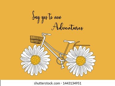 daisy with quotes and bicycle design vector ditsy flower summer sunflower,stationery,spring,bike,pattern,fashion,style,leopard,card,mug design,decorative,spring,margarita rose,