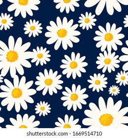 Daisy seamless pattern on dark blue background. Floral ditsy print with small white flowers. Chamomile design great for fashion fabric, trend textile and wallpaper. Vector