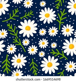 Daisy seamless pattern on dotted background. Floral ditsy print with small white flowers with green leaves. Chamomile herbal design. Vector illustrtion.