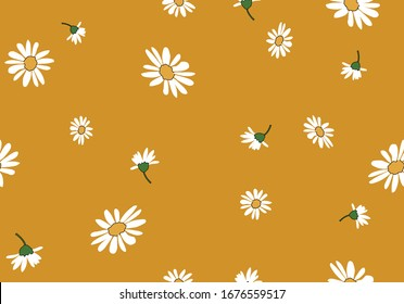 daisy seamless pattern vector design hand drawn spring daisy flower  fabric towel design pattern summer print  ditsy flower,spring,stationery,fabric,paper,packet,fashion creative decorative