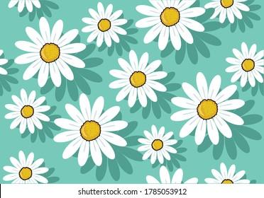 daisy seamless pattern vector illustration design drawn colorfull daisy flowerdaisies positive quote flower  margarita  mariposa stationery,mug,phone case positive slogan