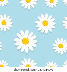 Daisy seamless pattern, White daisies on a blue background. refreshing flower for cheerful summer vector illustration.