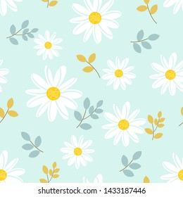 Daisy seamless pattern, White hand drawn daisies with leaves  on blue background. Field of flowers vector illustration.