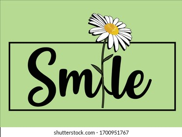 daisy sunny smile lettering design hand drawn  decorative fashion style trend spring summer print pattern positive quote fashion trend style  Inspirational .Modern Calligraphy