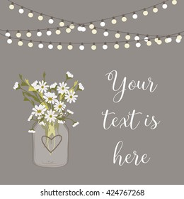 Daisy wedding invitation / Mason jar / Flower