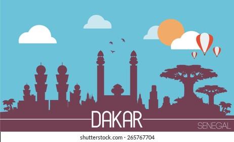 Dakar city Senegal skyline silhouette flat design vector illustration