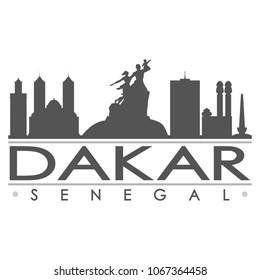 Dakar Senegal Skyline Silhouette Design City Vector Art Famous Buildings
