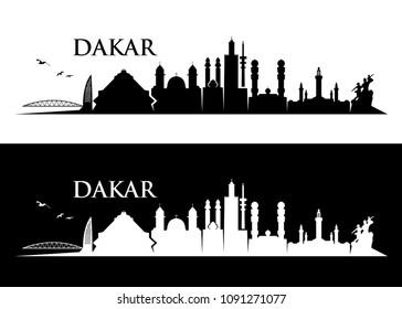 Dakar skyline - Senegal - vector illustration