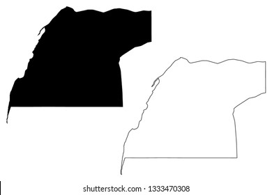 Dakhla-Oued Ed-Dahab Region (Administrative divisions of Morocco, Kingdom of Morocco, Regions of Morocco) map vector illustration, scribble sketch Oued Ed-Dahab-Lagouira map