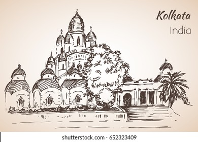 Dakshineshwar Temple - city Kolkata. Isolated on white background