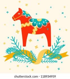 Dala horse decoration card
