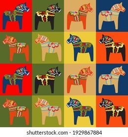 Dala horse pattern collage. Swedish folk art colorful background.