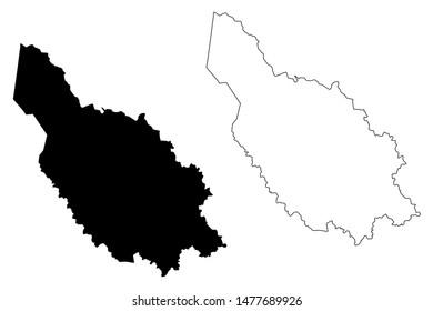 Dalarna County (Counties of Sweden, Kingdom of Sweden) map vector illustration, scribble sketch Dalarna map