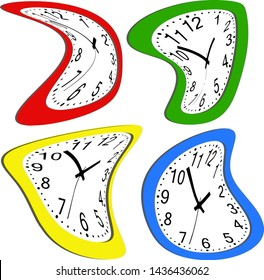Dali melting watches. Set of deformed colorful wall clock.