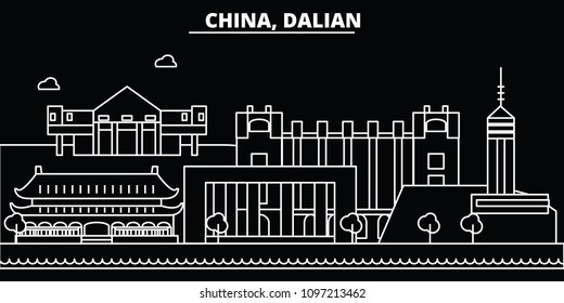 Dalian silhouette skyline. China - Dalian vector city, chinese linear architecture, buildings. Dalian travel illustration, outline landmarks. China flat icons, chinese line banner