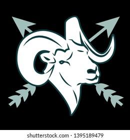 Dall Sheep head white x-cross arrow