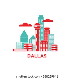 Dallas city architecture retro vector illustration, skyline city silhouette, skyscraper, flat design