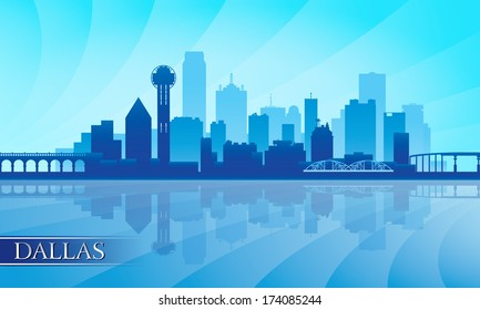 Dallas city skyline silhouette background, vector illustration