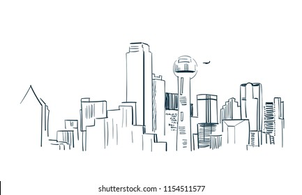 Dallas city vector sketch landscape line illustration skyline