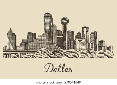 Dallas skyline, big city architecture, vintage engraved vector illustration, hand drawn, sketch.