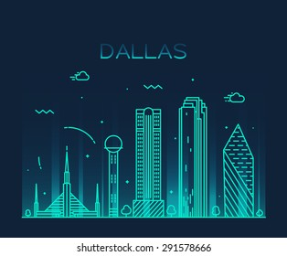 Dallas skyline, detailed silhouette. Trendy vector illustration, linear style.