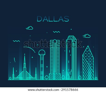 dallas skyline detailed silhouette trendy vector stock vector
