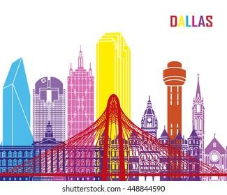 Dallas skyline pop in editable vector file
