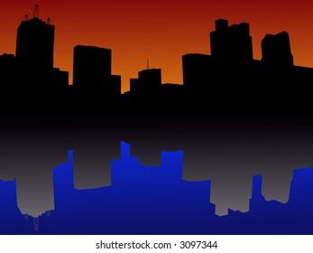 Dallas Skyline reflected at sunset illustration