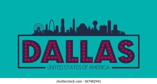Dallas skyline silhouette poster vector design illustration