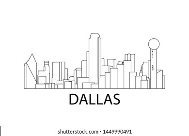Dallas skyline. Vector hand drawn illustration. Dallas, Texas, United States of America