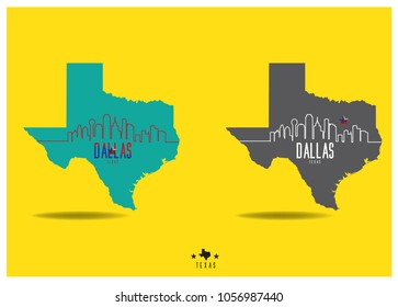 dallas Texas with city outline on map vector eps 10