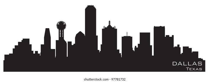 Dallas, Texas skyline. Detailed vector silhouette