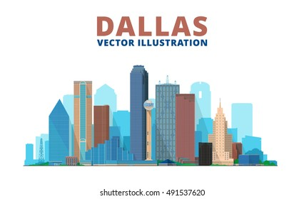Dallas Texas skyline vector illustration. Background with city panorama. Travel picture.