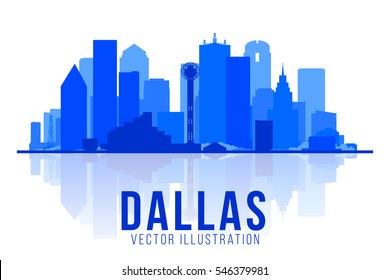 Dallas Texas skyline vector illustration. Background with city panorama. Business travel and tourism concept with modern buildings. Image for presentation, banner, web site.
