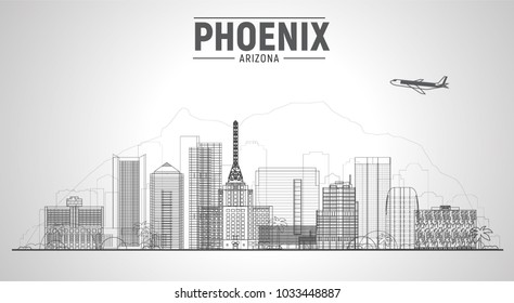 Dallas Texas united states line city skyline vector illustration on white background. Business travel and tourism concept with modern buildings. Image for presentation, banner, web site.