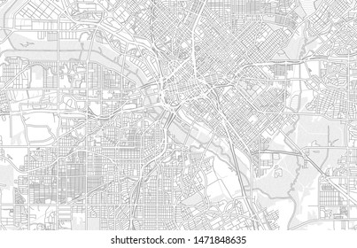 Dallas, Texas, USA, bright outlined vector map with bigger and minor roads and steets created for infographic backgrounds.