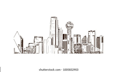 Dallas. Texas. USA. Hand drawn sketch illustration in vector.
