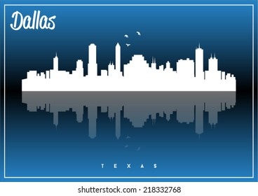 Dallas, Texas, USA skyline silhouette vector design on parliament blue background.