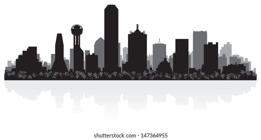 Dallas USA city skyline silhouette vector illustration
