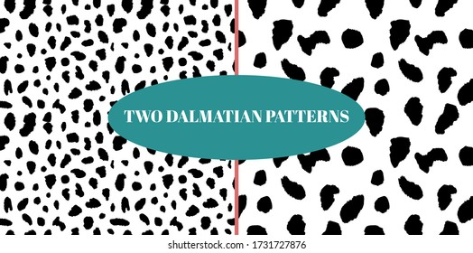 Dalmatian detailed spotted skin seamless pattern set. Dogs fur black and white spots pack. Animal vector print for textile, texture, design, fabric, apparel. EPS10.