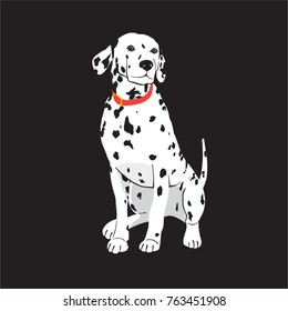 Dalmatian dog on black background, cartoon vector illustrator