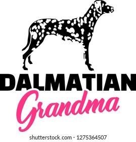 Dalmatian Grandma silhouette pink word