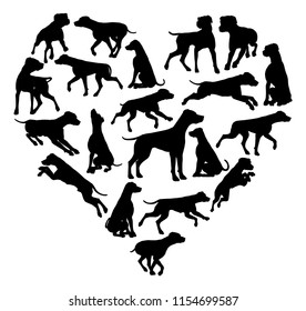A Dalmatian or similar dog heart silhouette concept for someone who loves their pet