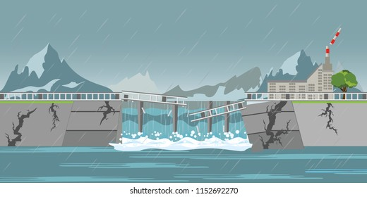 Dam collapse and heavy rain drops to broken hydroelectric power plant floods villages, concept vector illustration.