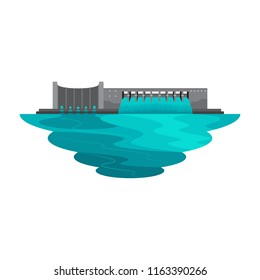 Dam Reservoir Water Lake for Power Energy Landscape Vector